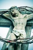 a representation of Jesus Christ in the Holy Cross and the crown of thorns