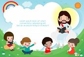 Jesus Christ Reading The Bible With Children.jesus Preaching To A Group Of Kids. Template For Advert poster