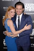 LOS ANGELES - DEC 10:  Jessica Chastain, Edgar Ramirez arrive to the 'Zero Dark Thirty' premiere at