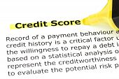 Credit Score Highlighted In Yellow