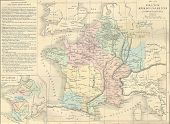 Antique Map Of Merovingian France,