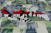 indonesia map flag on rupiah illustration