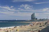 Sunny sandy beach in barcelona