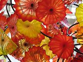 Red, Yellow And Orange Blown Glass Flowers