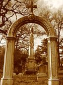 Cemetery In Brooklyn - Cross On Top Of Arch- Sepia