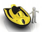 picture of waverunner  - 3d man and yellow jet ski on a white background - JPG