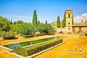 stock photo of parador  - Gardens of La Alhambra in Granada - JPG