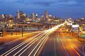 stock photo of headlight  - Image of Denver and busy street with traffic leading to the city - JPG
