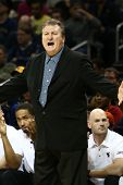 BROOKLYN-DEC 15: West Virginia Mountaineers head coach Bob Huggins reacts on the sidelines against t