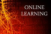 picture of online education  - Online Learning Abstract Background in Red and Black - JPG