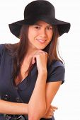 Beautiful Young Woman With A Black Hat