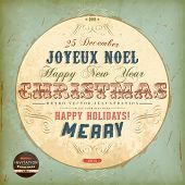 Vintage circle Christmas Card with ribbons and grunge background for Xmas retro invitation design, J