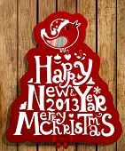 Happy New Year 2013 and Merry Christmas lettering label for Xmas design, bird, snowflake and red rib