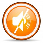mute orange glossy icon on white background
