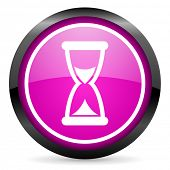 time violet glossy icon on white background