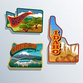 Northwest USA Idaho, Oregon, Washington retro Aufkleber Patch Entwürfe