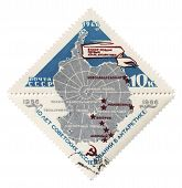 Antarctica Map On Post Stamp