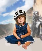 Happy Little Girl Wearing Helmet