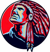 Native American Indian Chief Retro