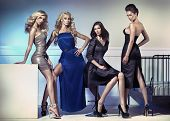stock photo of seductress  - Group of elegant women - JPG