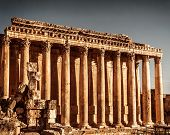 Jupiter's temple ancient Roman columns, Baalbek, Lebanon, aged arabic castle, world famous landmark, historical monument, travel concept