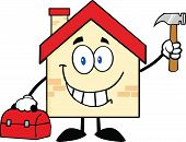 House Cartoon Character Worker With Tool Box And Holding Up A Hammer