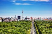 Berlin panorama. Top view on Television Tower, Berlin Catherdral, Brandenburg Gate and Reichstag. Vi