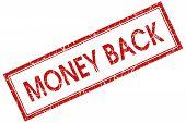 Money Back Red Rectangular Stamp