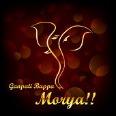 image of ganpati  - vector illustration of Lord Ganesha saying Oh Ganpati My Lord - JPG