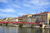 Lyon City And Red Footbridge