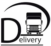 delivery symbol with truck and text
