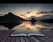 Creative Concept Pages Of Book Stunning Mountain And Lake Sunrise Reflections Beautiful Landscape Wi