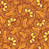 abstract yellow flowers brown seamless background