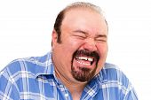 Caucasian Bearded Happy Man Laughing Loud