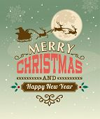 stock photo of christmas claus  - Vintage vector Christmas card with typography design - JPG