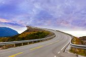 picture of fjord  - Fantastic bridge through fjord on the Atlantic road in Norway  - JPG