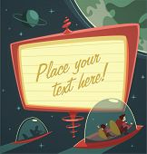 Retro-futuristic billboard in outer space. Vector illustration.