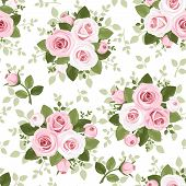 stock photo of english rose  - Vector seamless pattern with pink roses - JPG