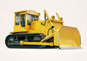 image of earthwork operations  - Heavy crawler bulldozer on a light background - JPG