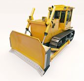 picture of earthwork operations  - Heavy crawler bulldozer on a light background - JPG