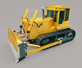 image of earthwork operations  - Heavy crawler bulldozer on a gray background - JPG