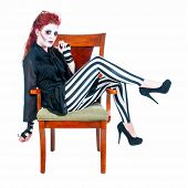 Redhead Zombie Woman Seated
