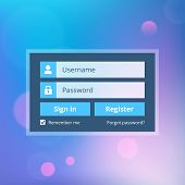Login website template flat design with abstract background