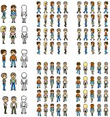 image of tide  - set of pixel people with frame of move - JPG