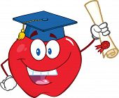 Happy Apple Holding A Diploma