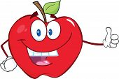 Apple Cartoon Mascot Character Holding A Thumb Up