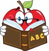 Apple Teacher Character Reading A Book