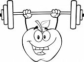 Black And White Apple Character Lifting Weights
