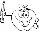 Black And White Apple Holding Up A Pencil
