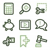 Shopping icons set 3, green line contour series